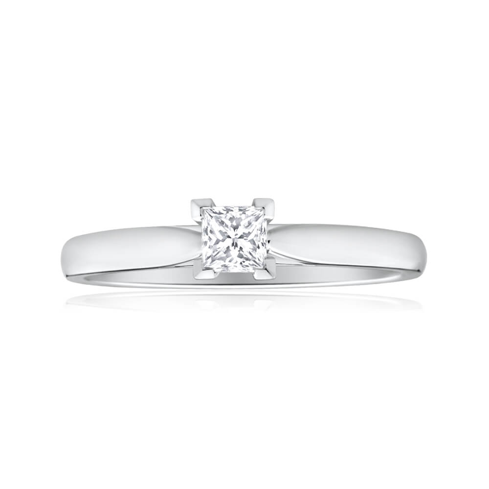 18ct White Gold Solitaire Ring With 0.2 Carat Diamond