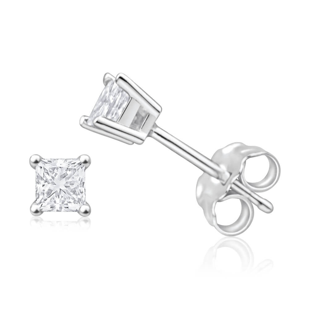 9ct White Gold Diamond Stud Earrings Set with 2 Beautiful Princess Cut Diamonds