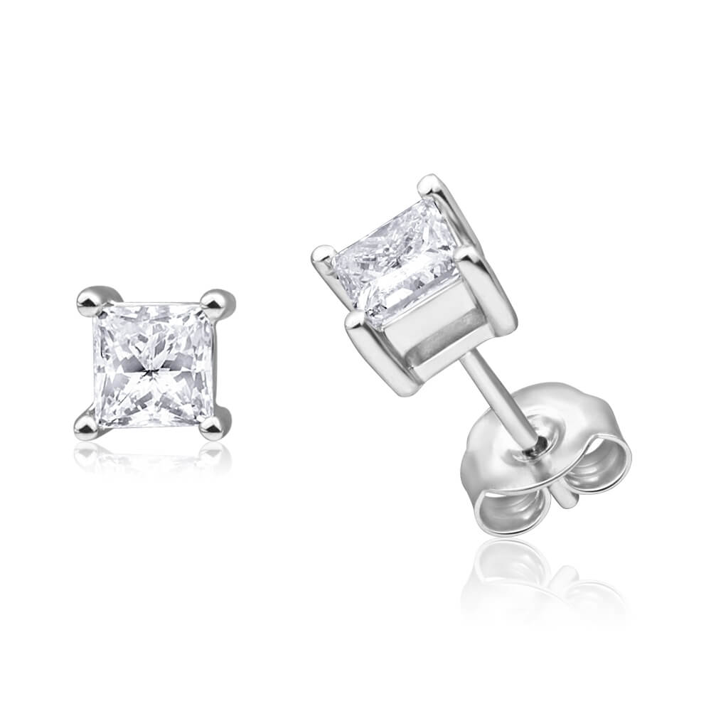 9ct White Gold Diamond Stud Earrings Set With 2 Princess Cut Diamonds