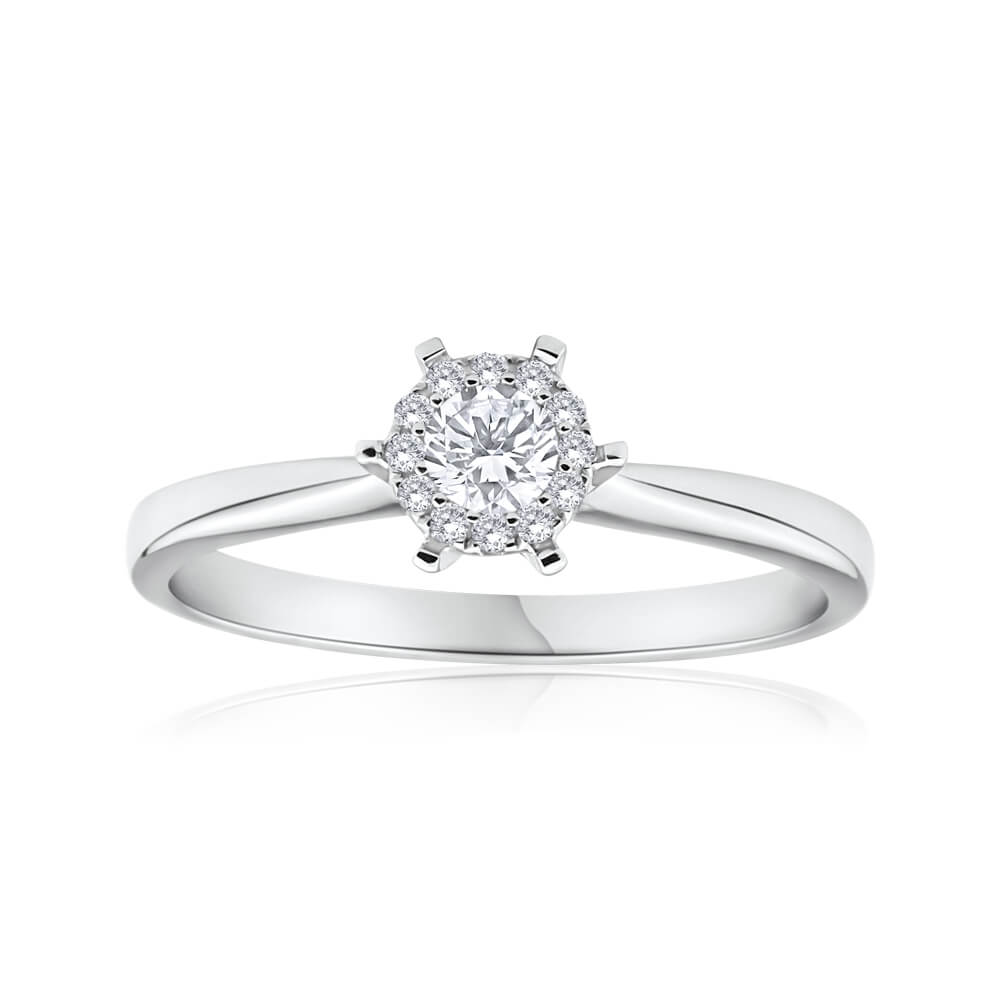 18ct White Gold Ring With 0.25 Carats Of Claw Set Diamonds