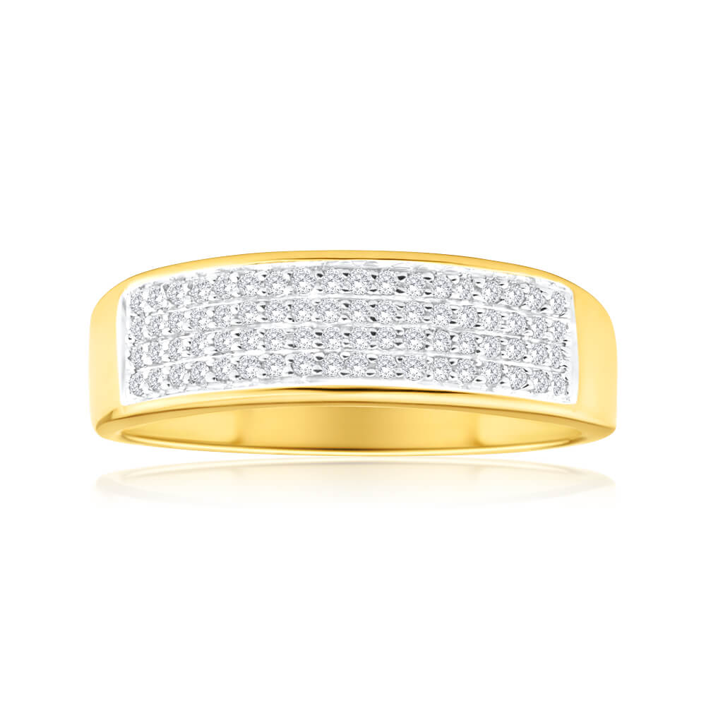 9ct Yellow Gold Diamond Ring Set With 72 Brilliant Diamonds