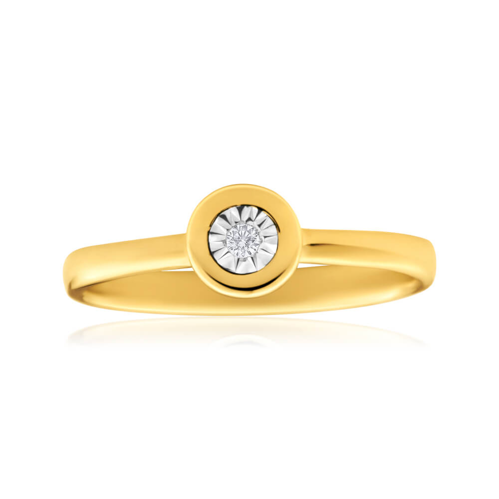 9ct Yellow Gold Solitaire Ring With 0.01 Carat Brilliant Cut Diamond
