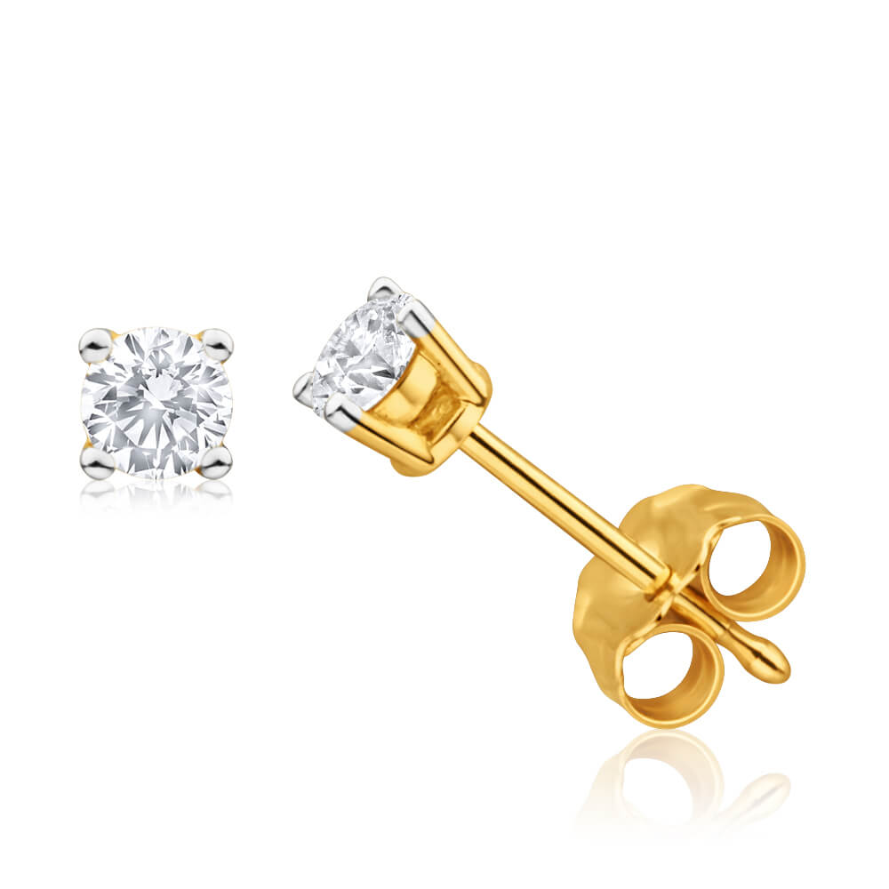 9ct Yellow Gold Exquisite Diamond Stud Earrings