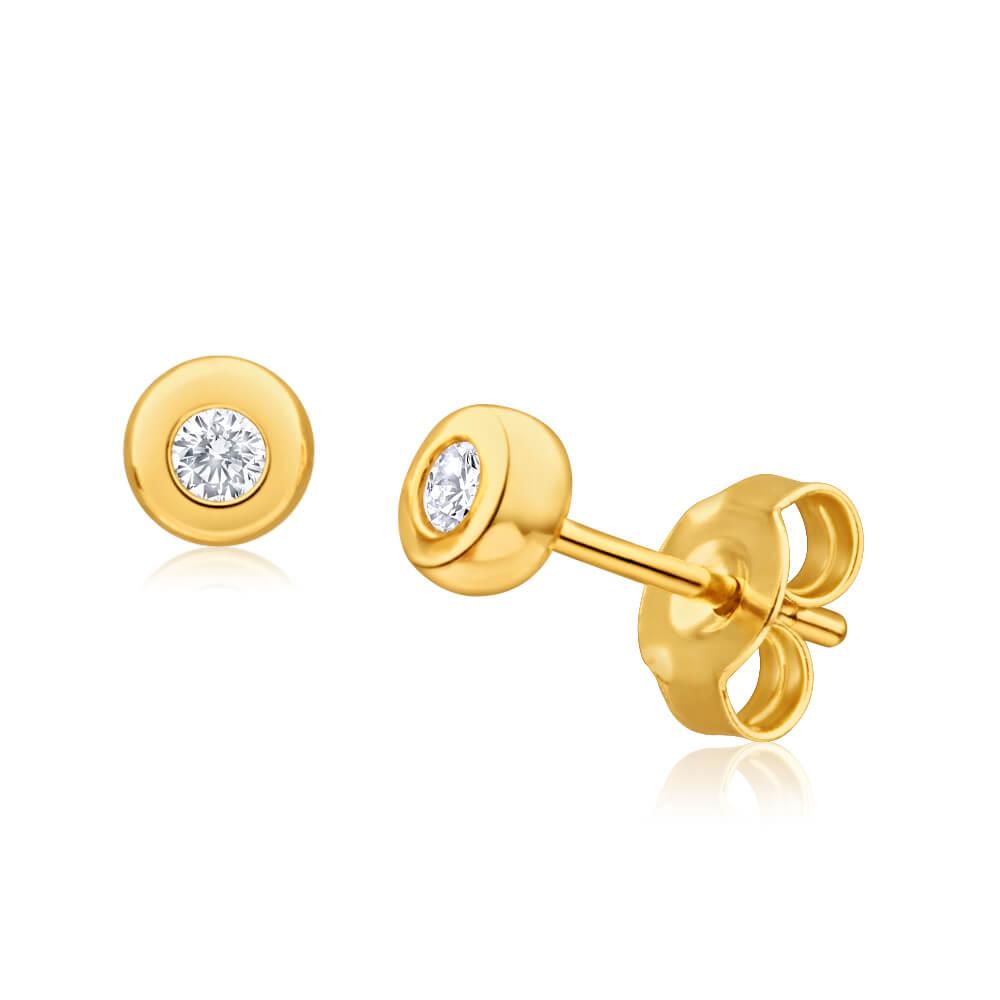 9ct Yellow Gold Delightful Diamond Stud Earrings