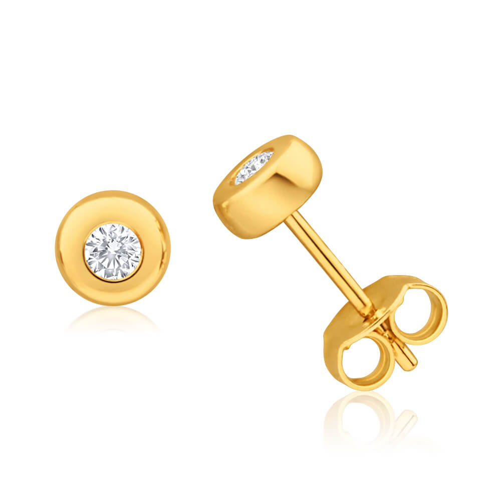 9ct Yellow Gold Splendid Diamond Stud Earrings