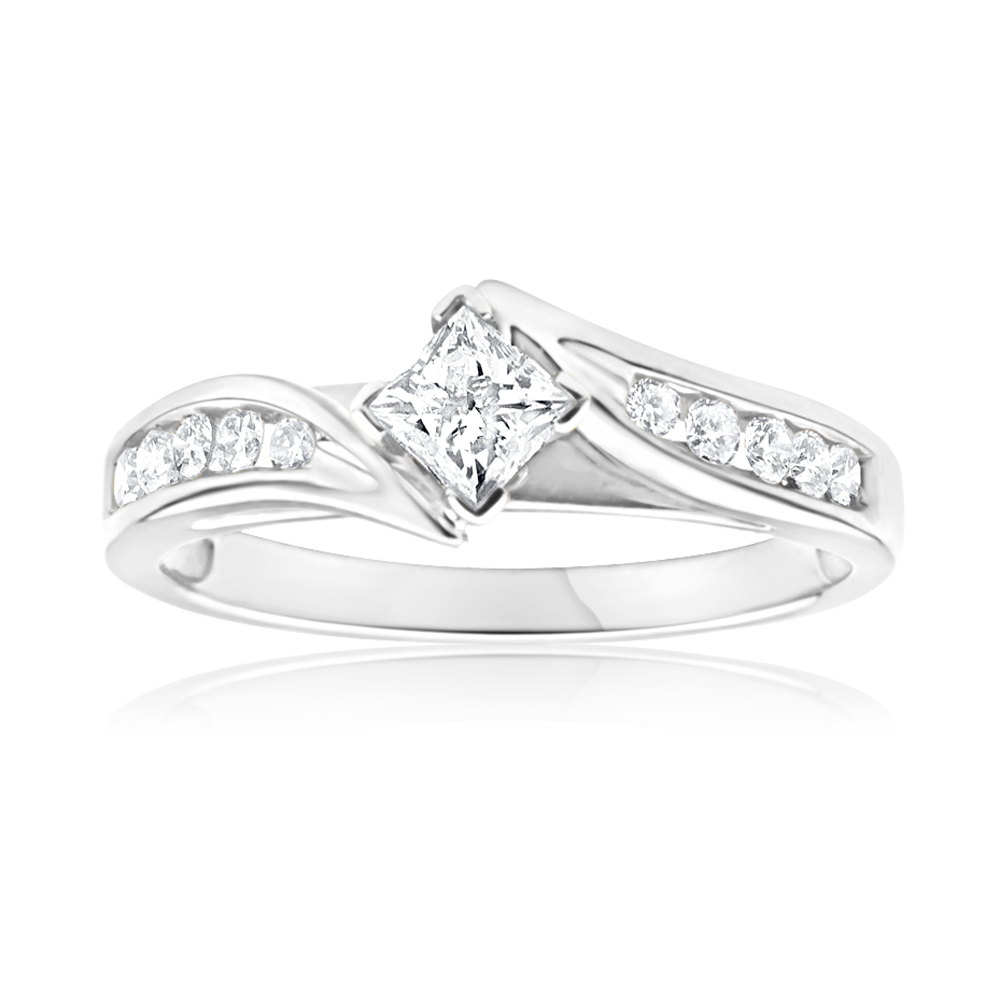 9ct White Gold Ring With 1/2 Carat Of Diamonds
