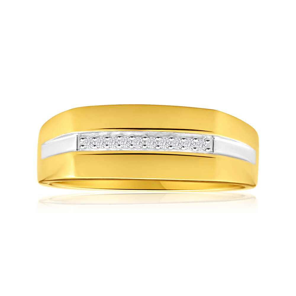 """""""His and Hers Rings"""" 9ct Yellow Gold Ladies Ring With 10 Diamonds"""