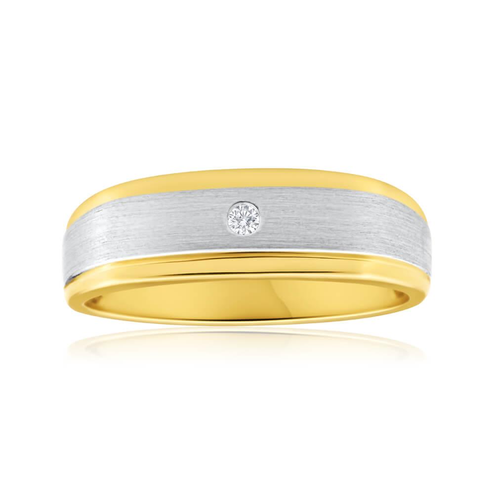 9ct Yellow Gold Diamond Mens Ring with White Gold Rhodium