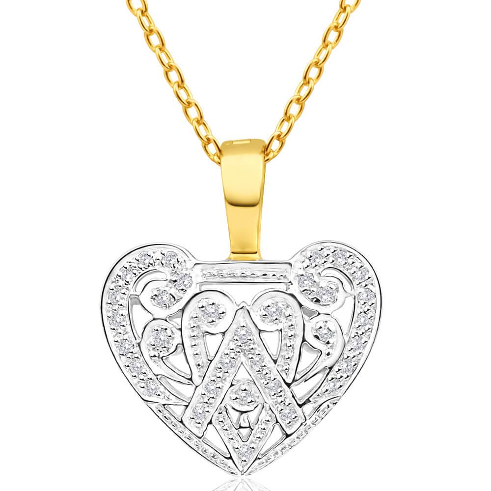 9ct Yellow Gold Delightful Diamond Pendant