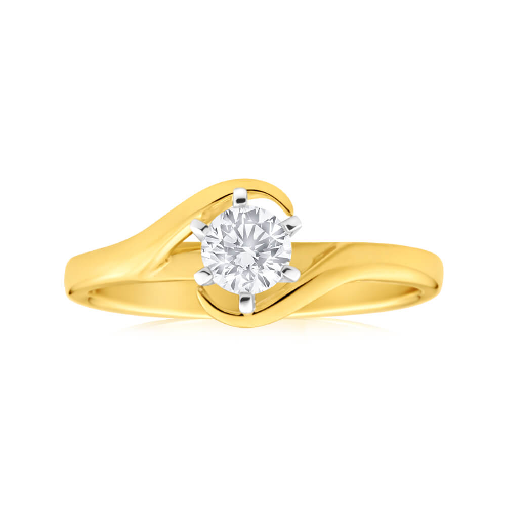 9ct Yellow Gold Solitaire Ring With 0.3 Carat 6 Claw Set Diamond