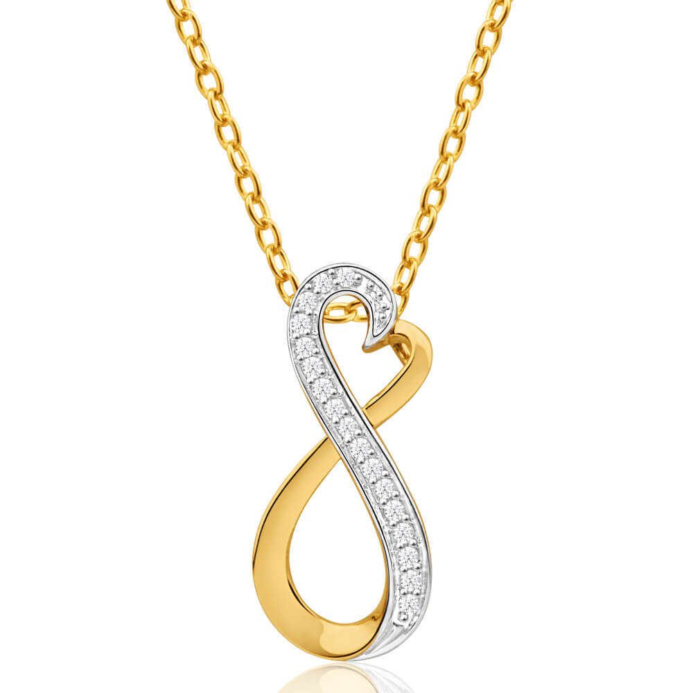 9ct Yellow Gold Infinite Love Diamond Pendant