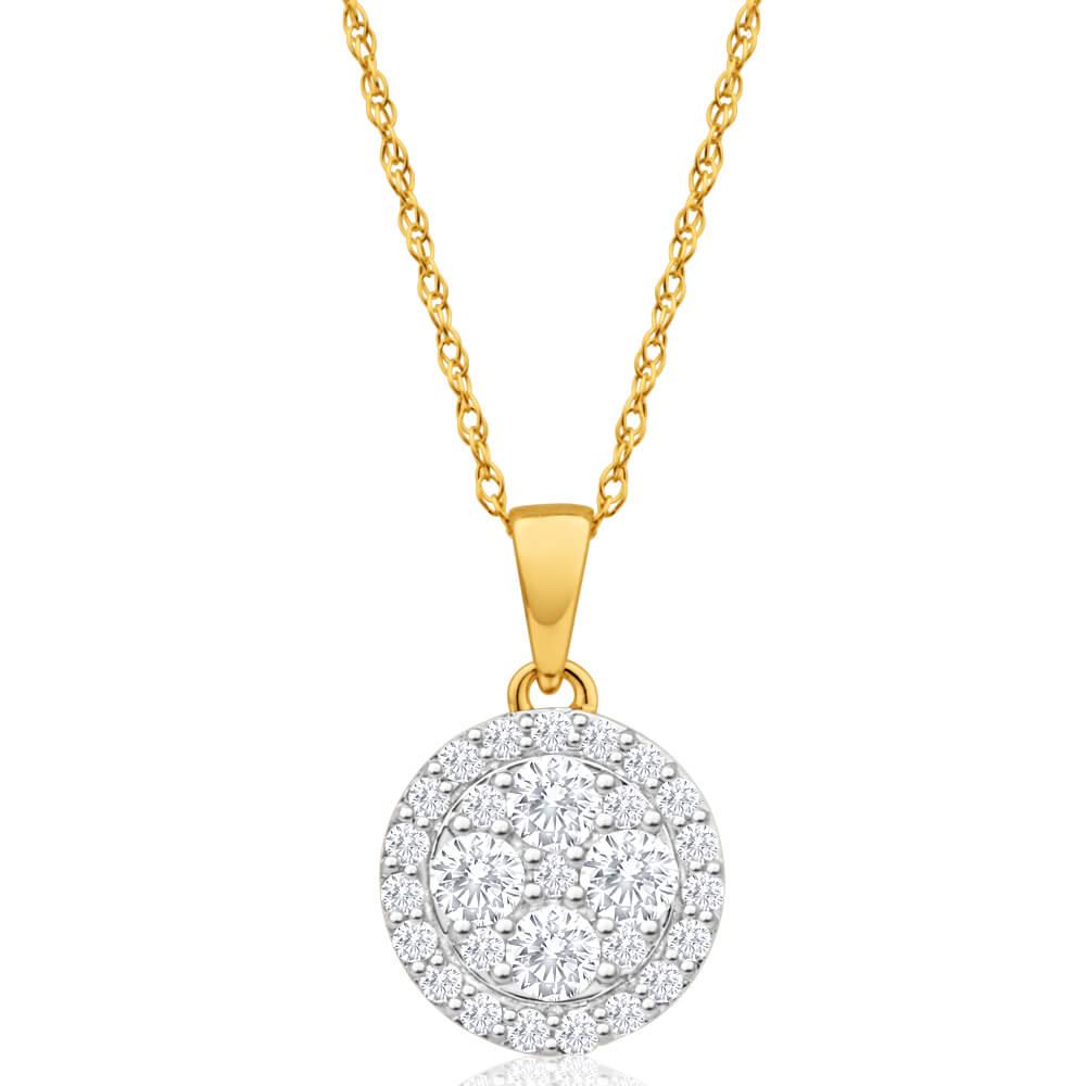 9ct Yellow Gold Gorgeous Diamond Pendant With Chain
