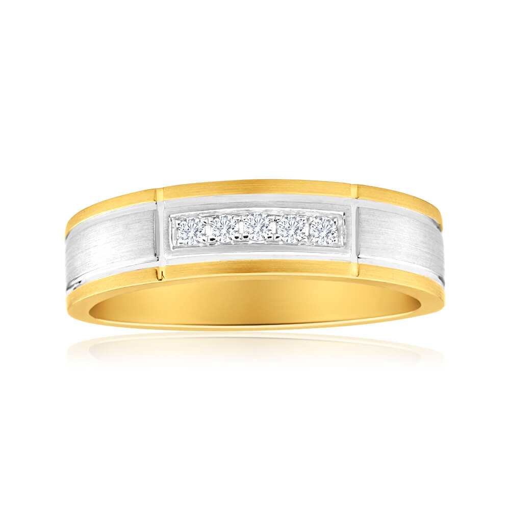 9ct Yellow Gold & White Gold Mens Ring With 0.1 Carats Of Diamonds