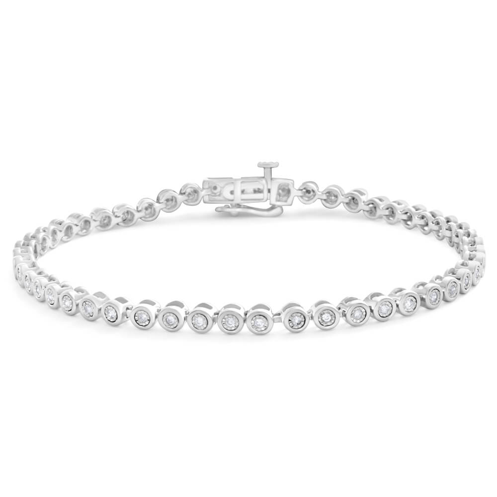 9ct Elegant White Gold Diamond Bracelet
