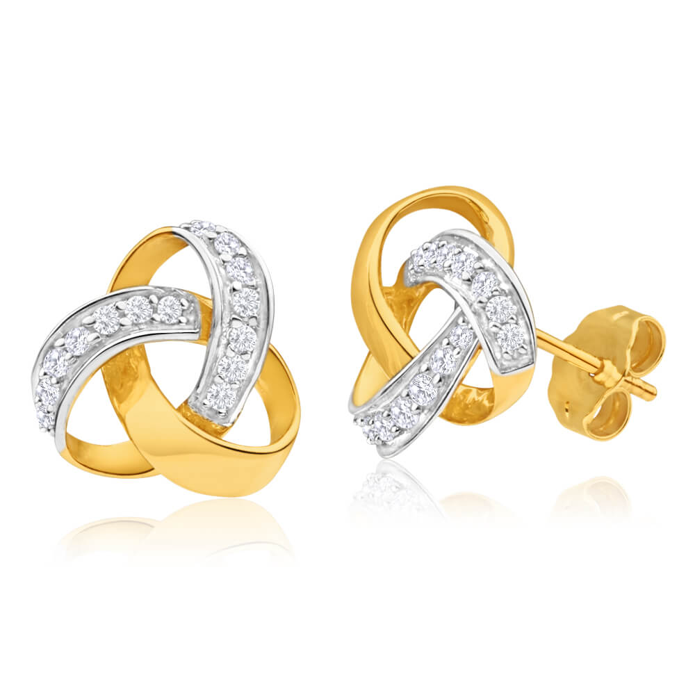 9ct Yellow Gold Love Knot Diamond Stud Earrings