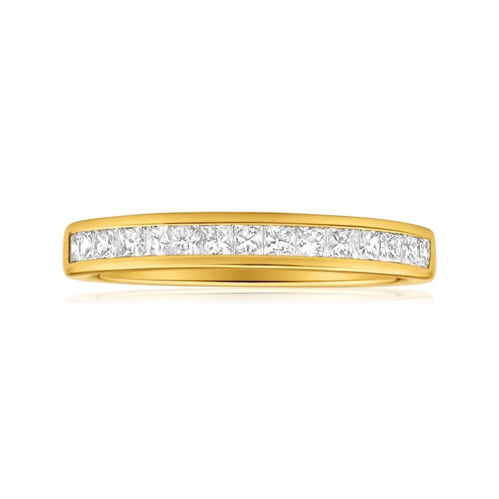 18ct Yellow Gold Ring With 15 Princess Cut Diamonds Totalling 0.5 Carats