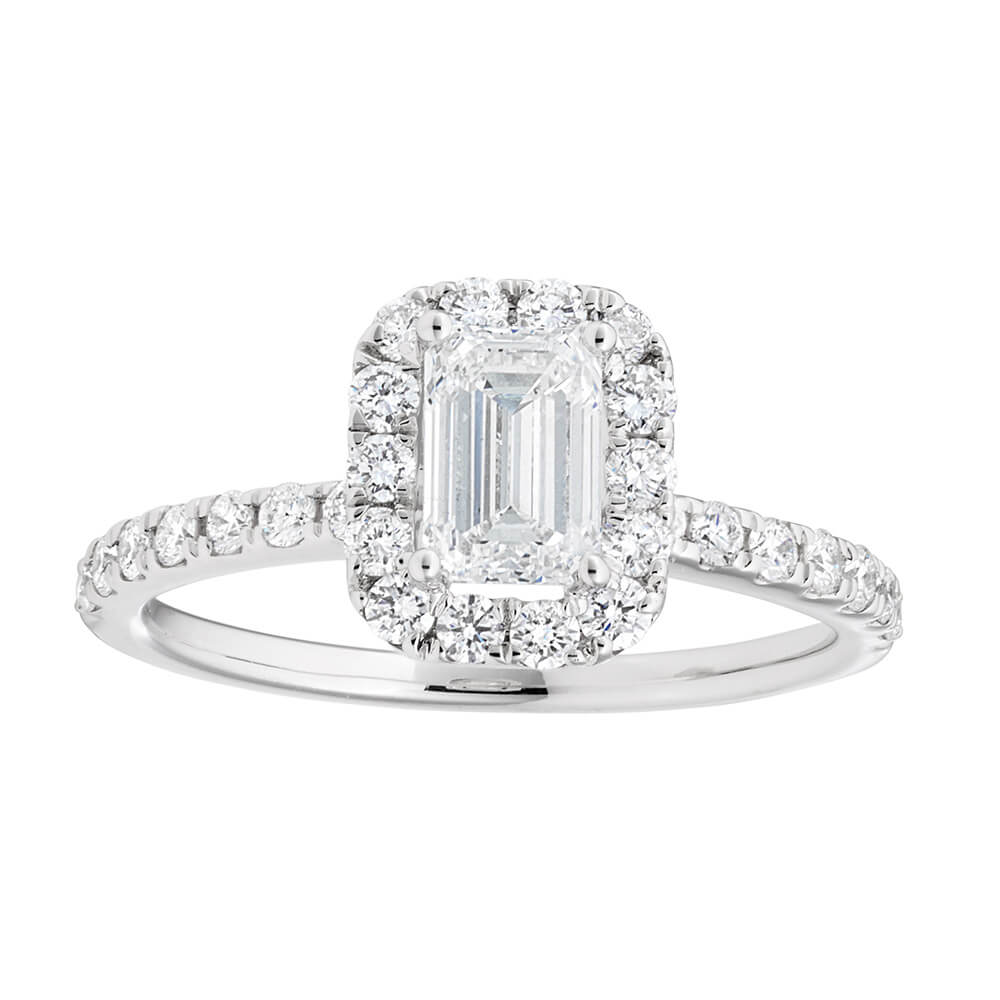 14ct White Gold 1.20 Carat Diamond Ring with 3/4 Carat Emerald Centre Diamond