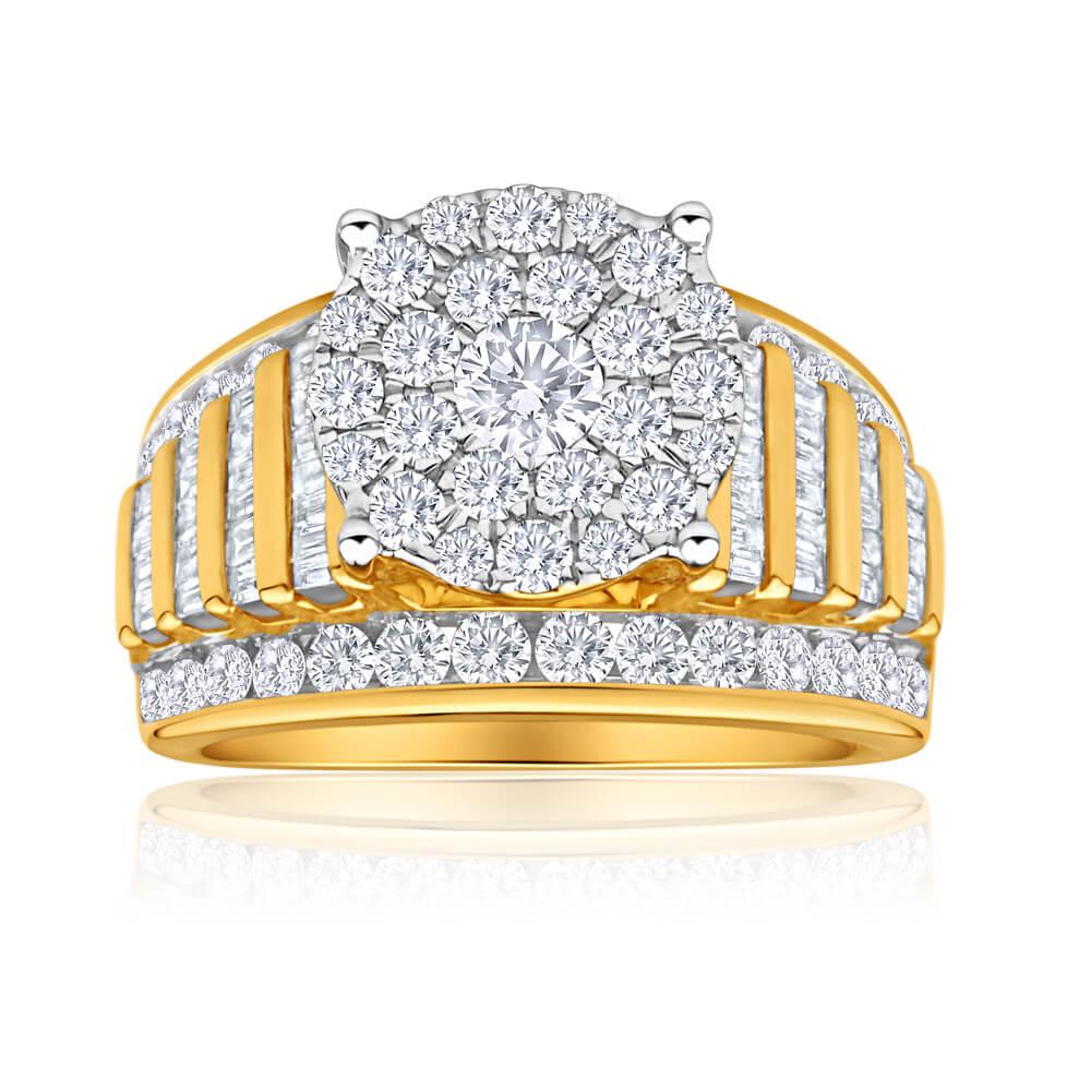 9ct Yellow Gold 2 Carat Diamond Ring Set With 97 Brilliant Diamonds