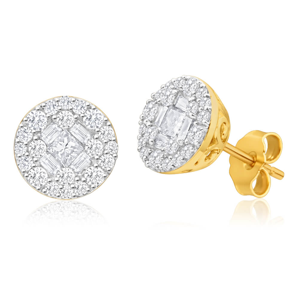 9ct Dazzling Yellow Gold Diamond Stud Earrings