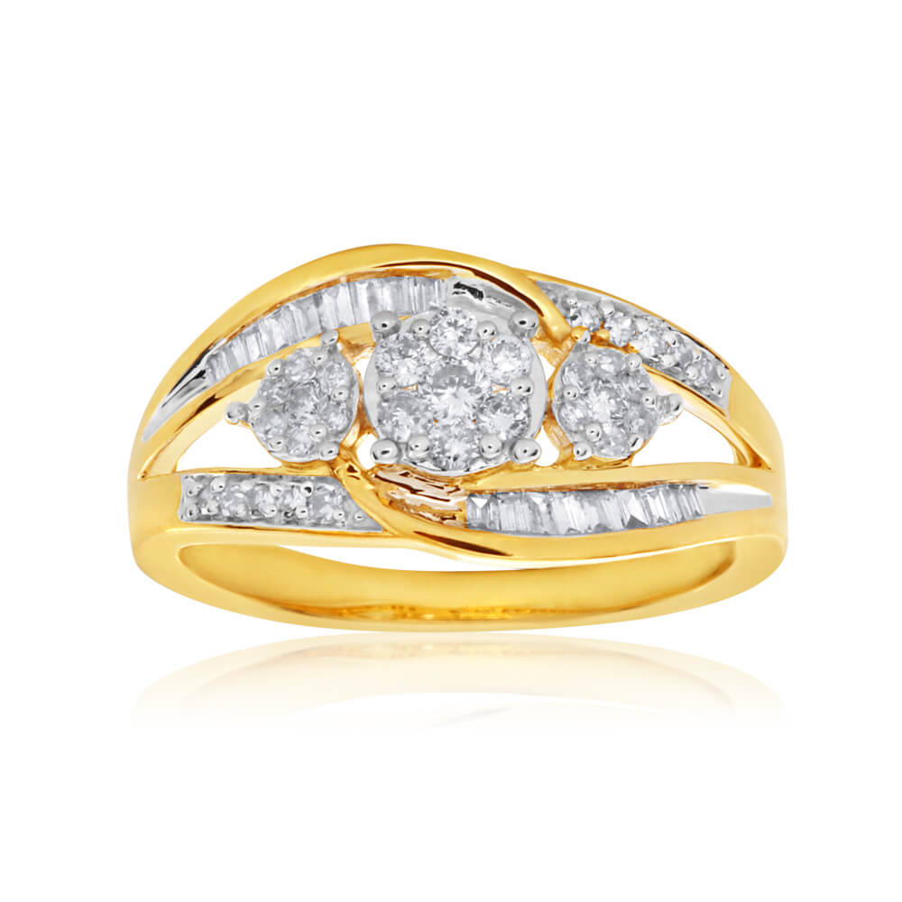 9ct Yellow Gold Diamond Ring  Set With An Assortment Of Brilliant and Baguette Diamonds