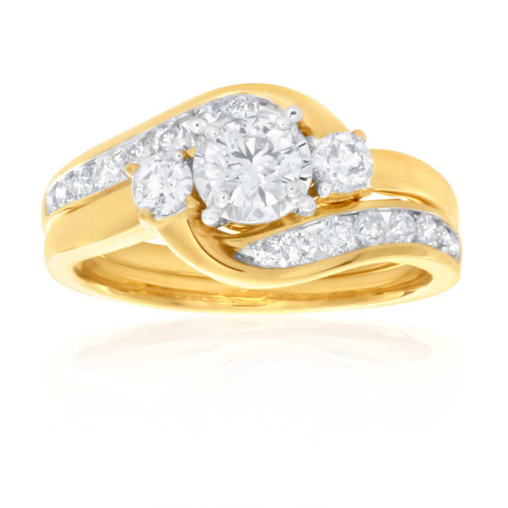9ct Yellow Gold 2 Ring Bridal Set With 1 Carat Of Diamonds