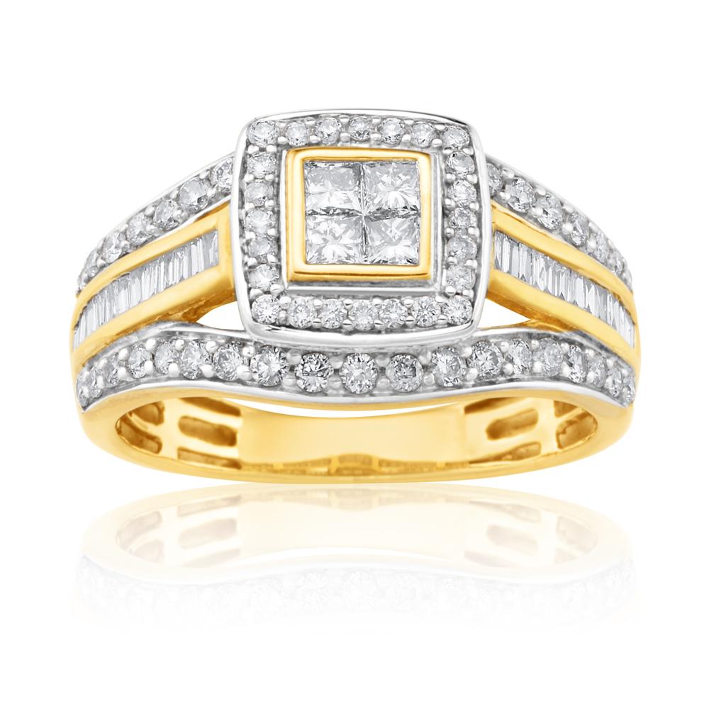 9ct Yellow Gold 1 Carat Diamond Ring Set With 86  Diamonds