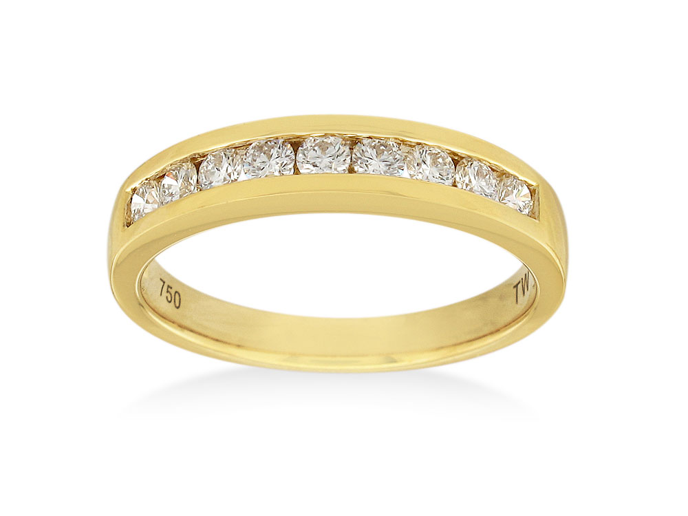18ct Yellow Gold  1/3 Carat Diamond Eternity Ring with 9 Brilliant Diamonds