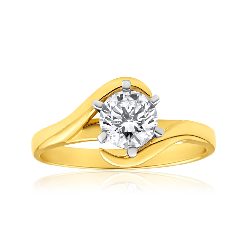 18ct Yellow Gold Solitaire Ring With 1 Carat Australian Diamond