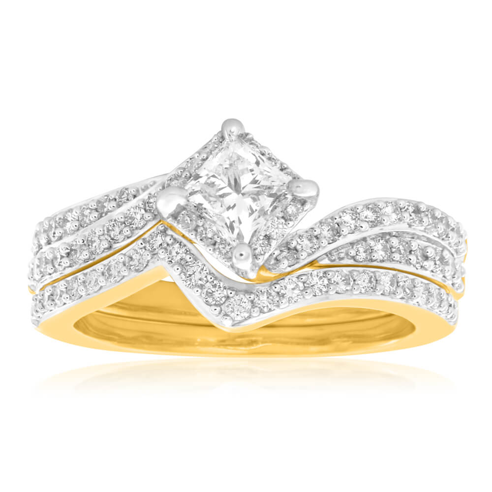 18ct Yellow Gold 'Tashi' 2 Ring Set With 1.2 Carats Of Diamonds
