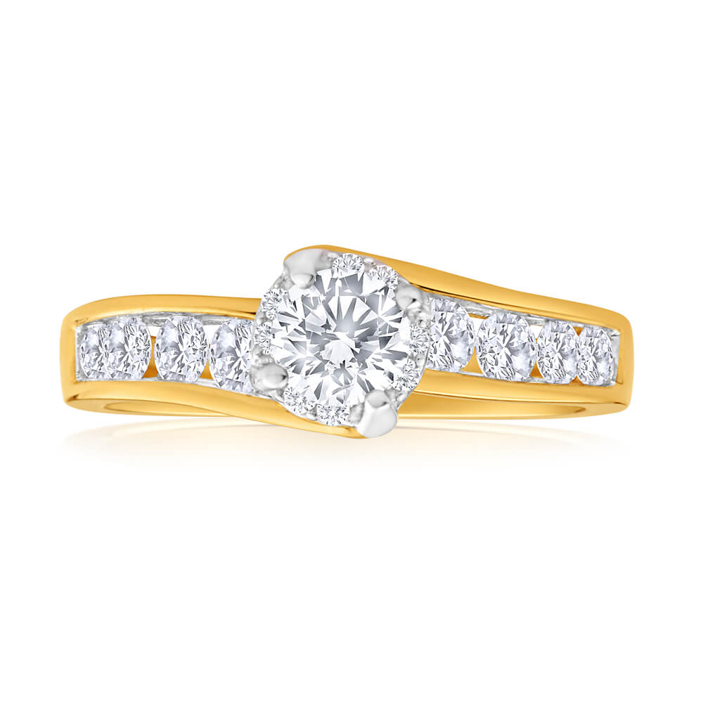18ct Yellow Gold Diamond Ring With 1 Carat Of Diamonds