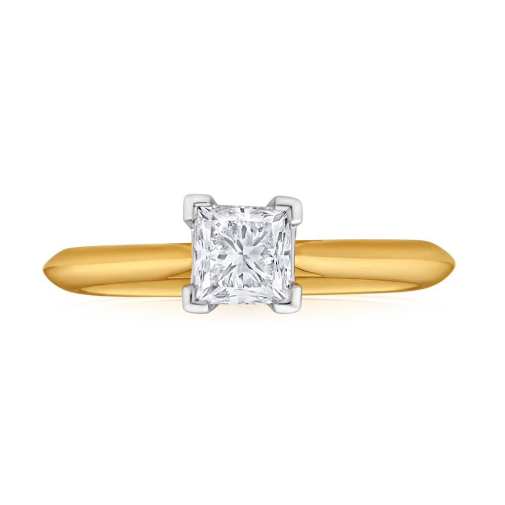 18ct Yellow Gold Solitaire Ring With 1 Carat ADGL Certified 4 Claw Set Diamond