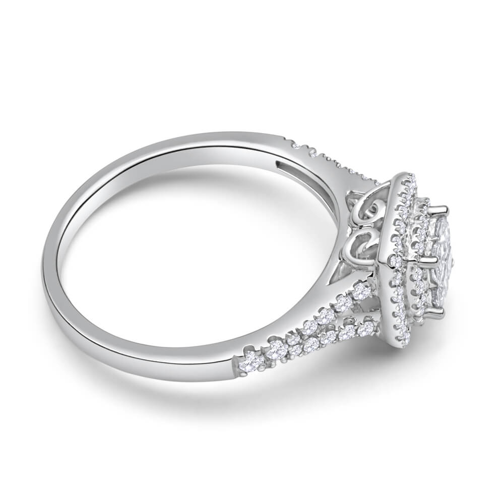 9ct White Gold Diamond Ring Set With 64 Brilliant Cut Diamonds