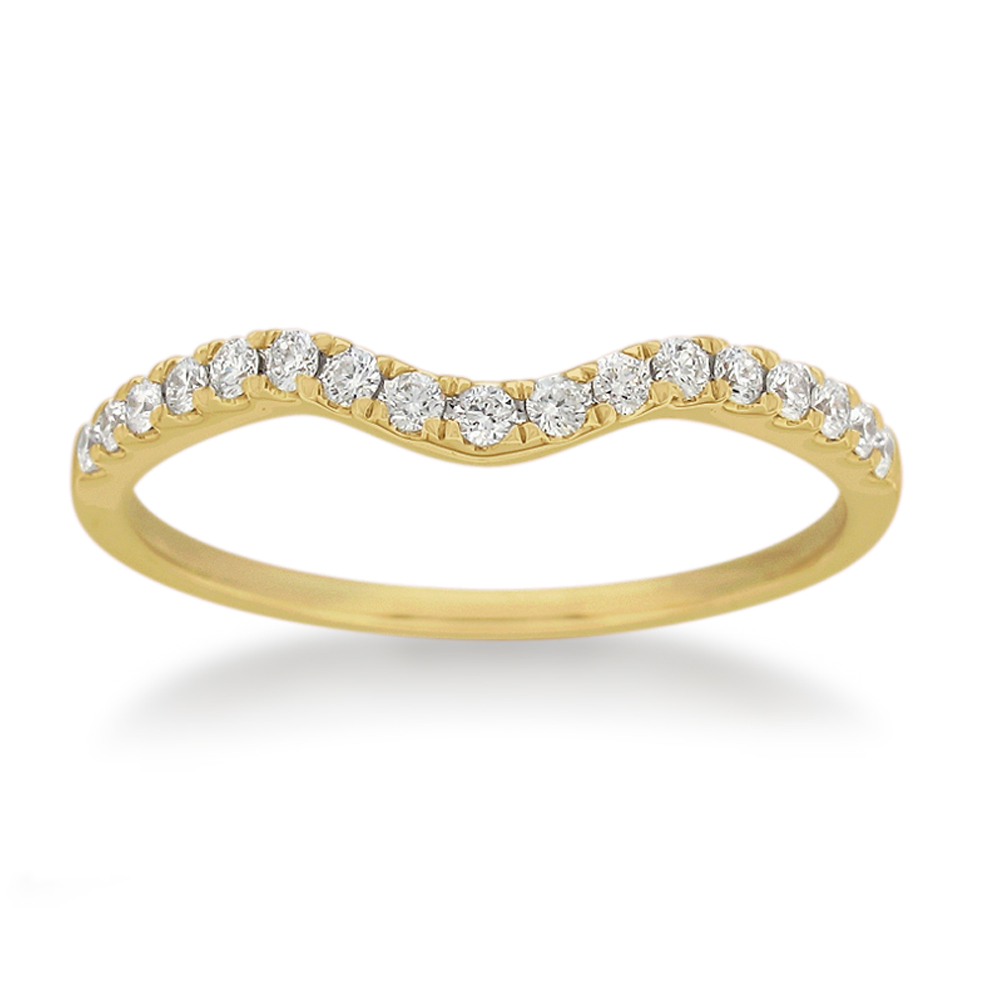 18ct Yellow Gold 'Carina' Contour Ring With 0.2 Carats Of Diamonds