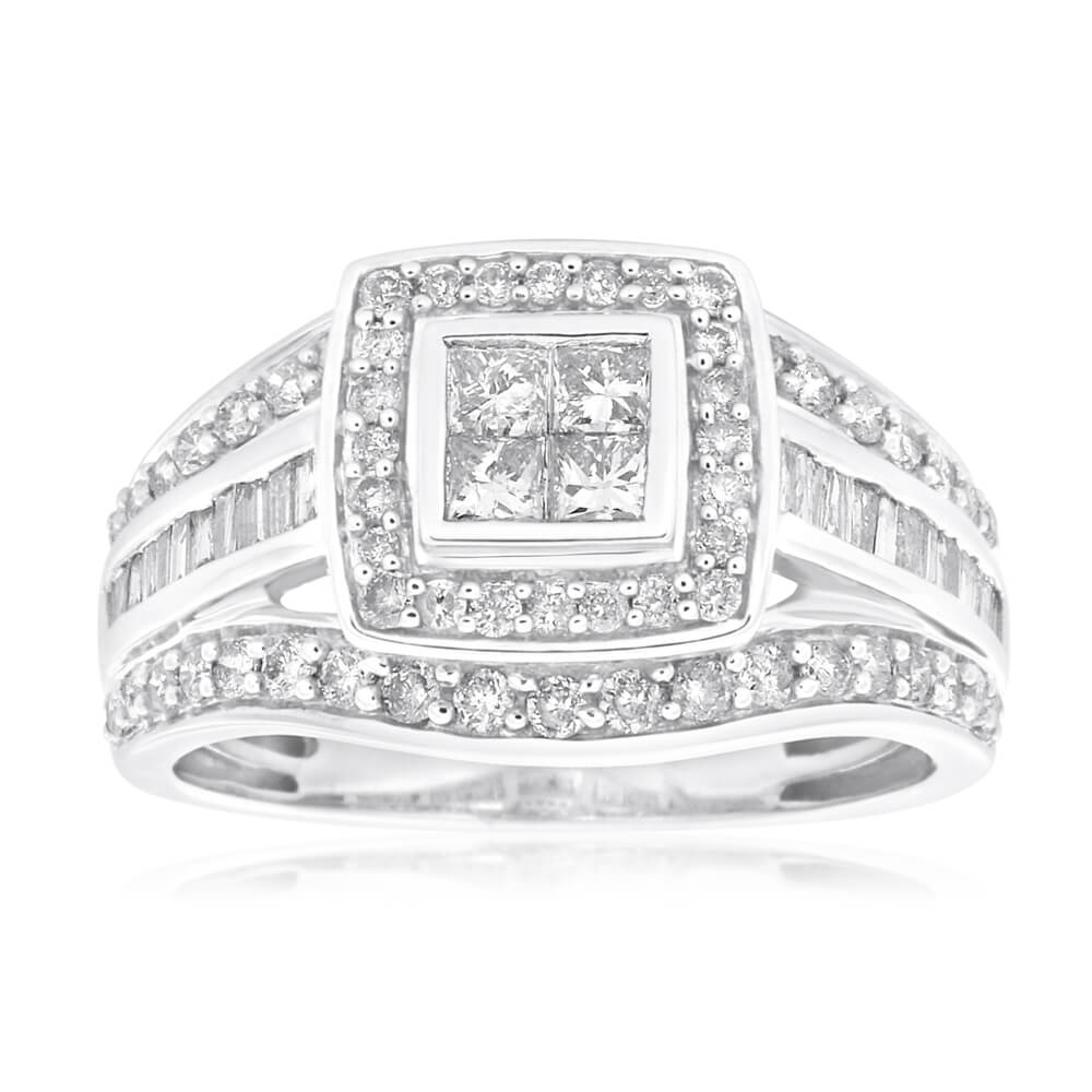 9ct White Gold Diamond Ring Set With 62 Brilliant and 4 Princess Cut Diamonds