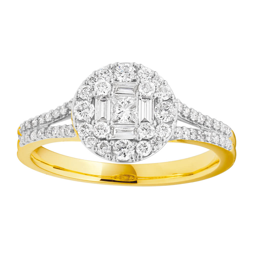 9ct Yellow Gold Diamond Ring Set With 57 Diamonds