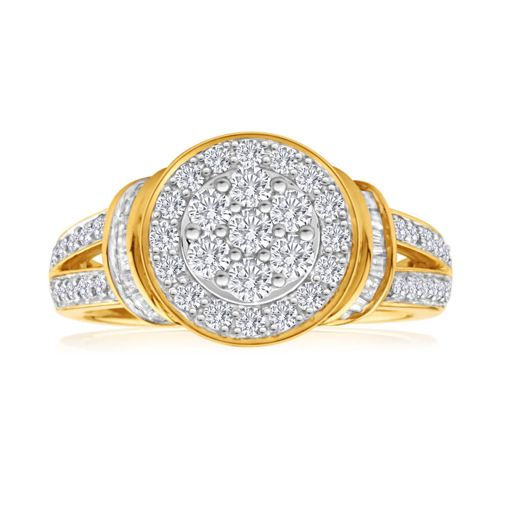 9ct Yellow Gold Diamond Channel Set Cluster Ring