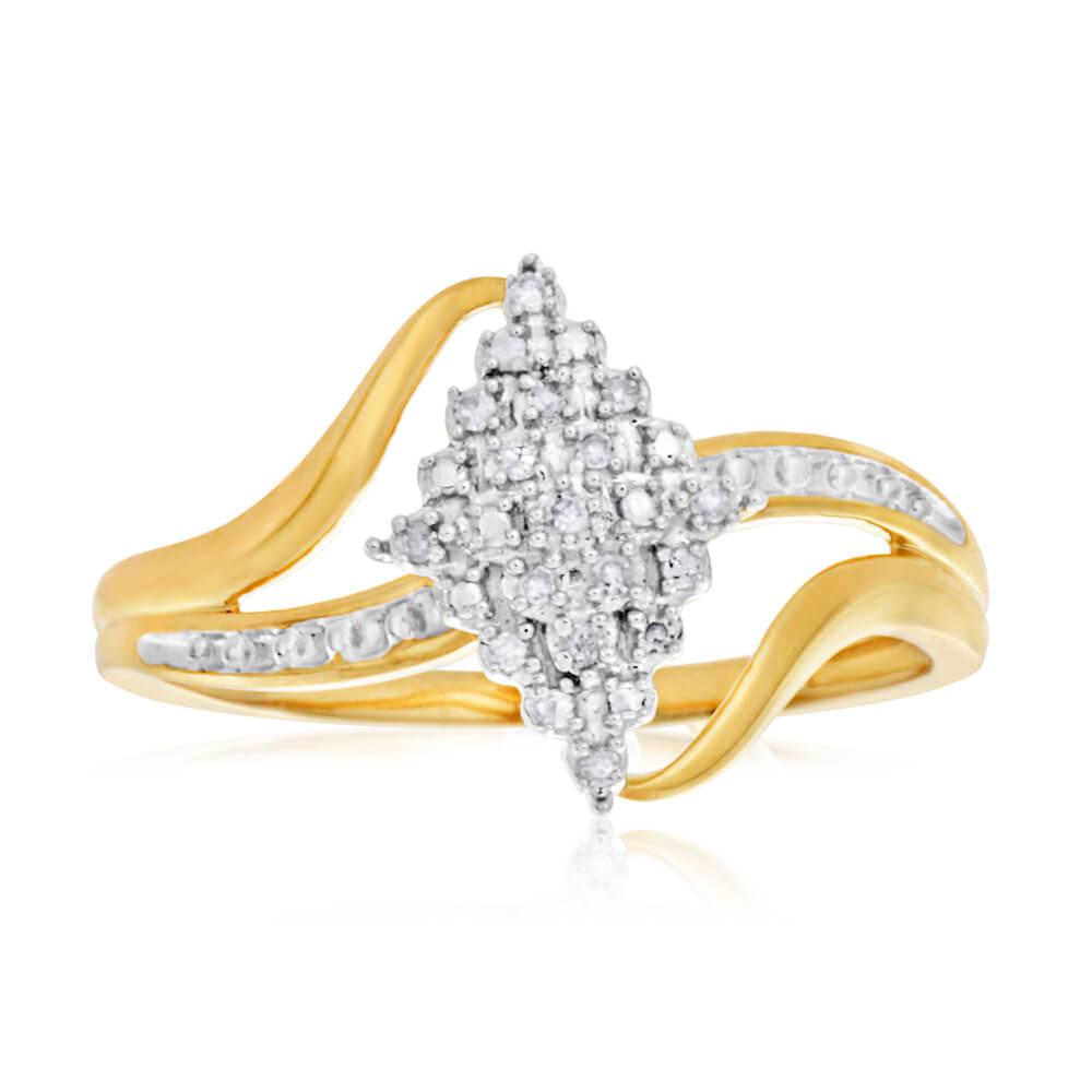 9ct Yellow Gold Diamond Ring Set with 15 Brilliant Cut Diamonds
