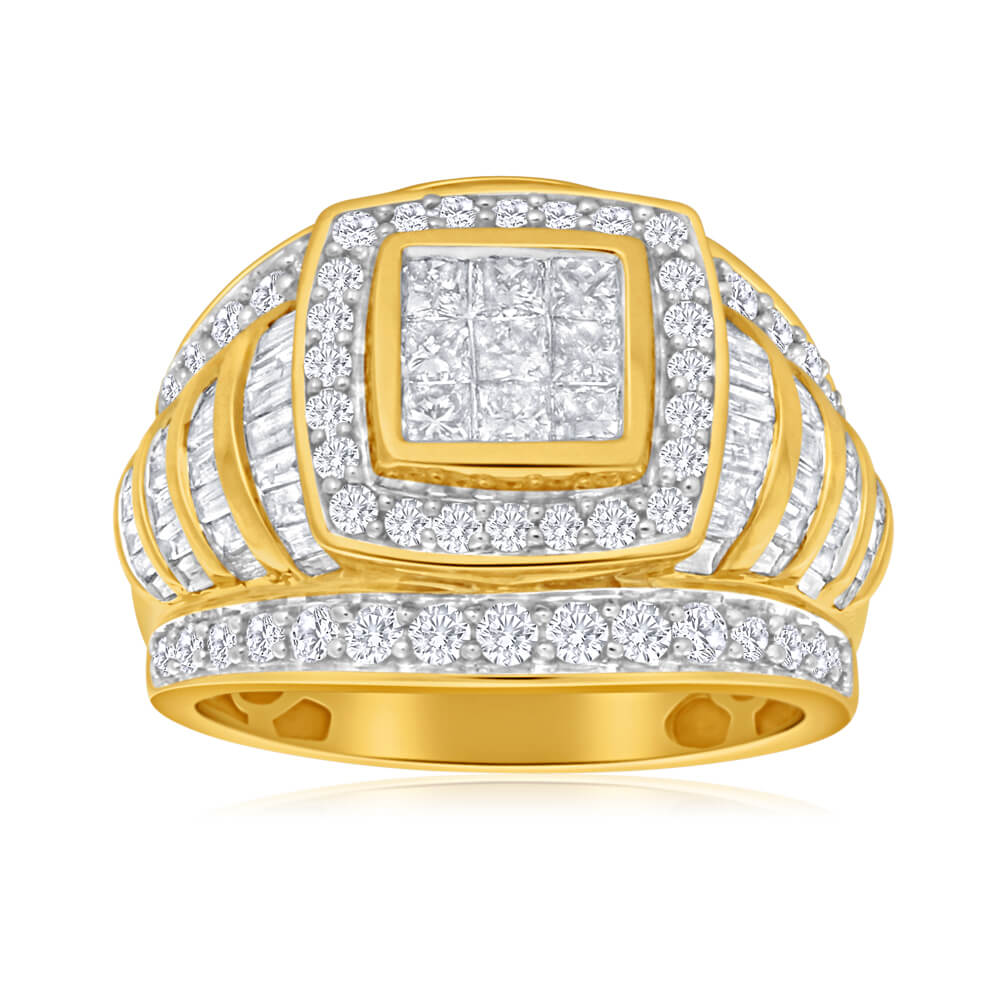 9ct Yellow Gold Diamond Ring With Over 2 Carats Of Diamond