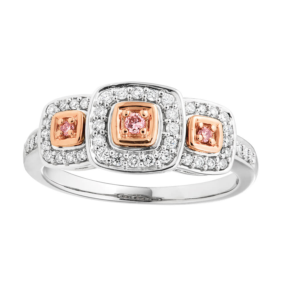 9ct White Gold 1/4 Carat Diamond Ring with 3 Pink Argyle Diamonds