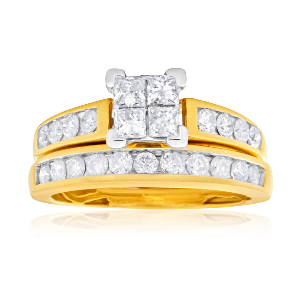 9ct Yellow Gold 2 Ring Bridal Set With 1 Carat Of Princess & Brilliant Cut Diamonds