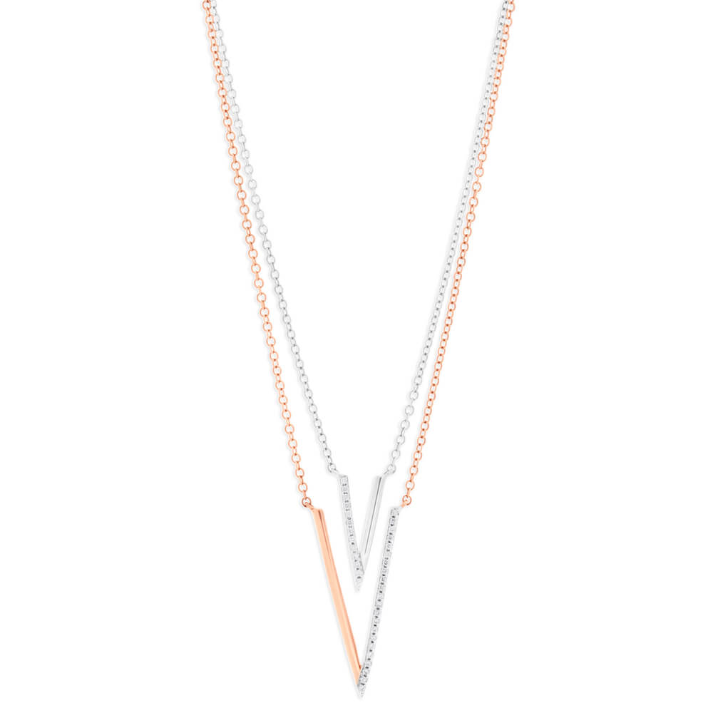 9ct Rose Gold Diamond Pendant With Chain