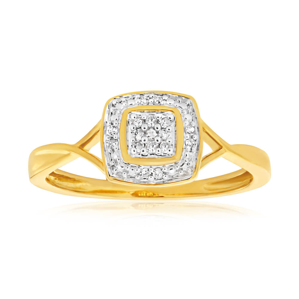 9ct Yellow Gold Diamond Ring Set with 17 Stunning Brilliant Diamonds
