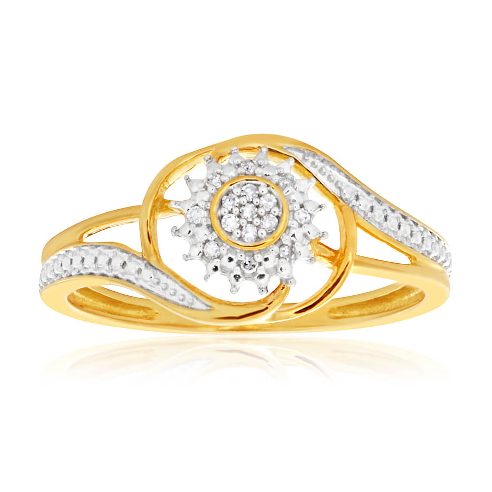 9ct Yellow Gold Diamond Ring Set with 15 Stunning Brilliant Diamonds