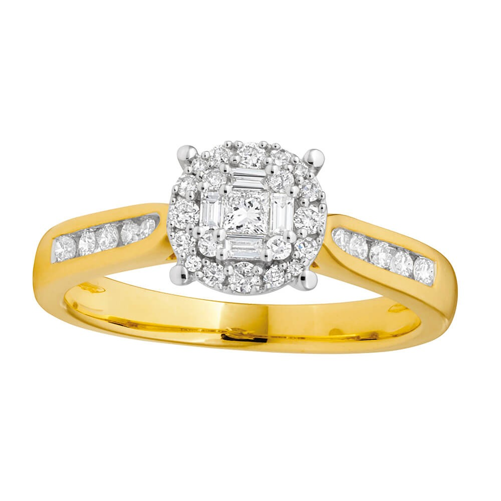 9ct Yellow Gold 0.40 Carat Diamond Ring with Brilliant Princess and Baguette Diamonds