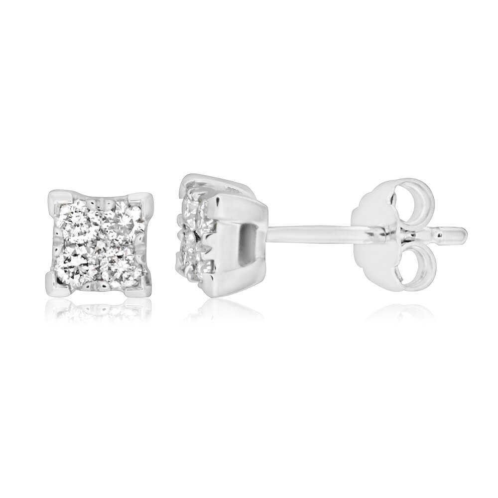 9ct White Gold 1/4 Carat Diamond Stud Earrings set with 10 Brilliant Diamonds