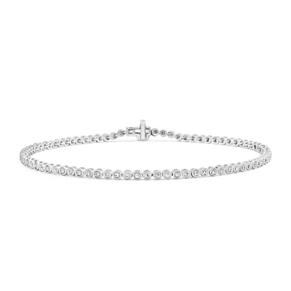 9ct Charming White Gold Diamond Fancy Bracelet