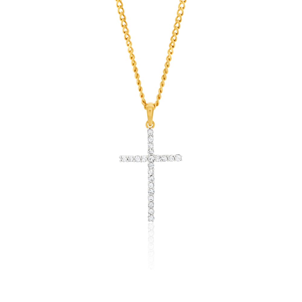 9ct Yellow Gold Diamond Cross Pendant Set with 22 Brilliant Diamonds