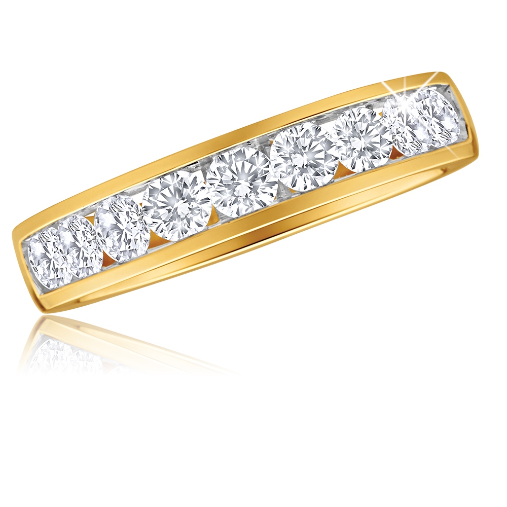 9ct Yellow Gold 1 Carat Diamond Ring with 9  Diamonds in Channel setting