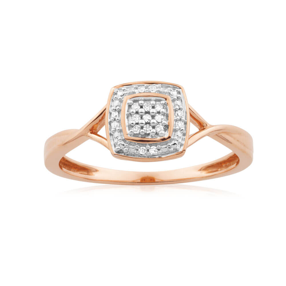 9ct Rose Gold Ring With 17 Brilliant Cut Diamonds