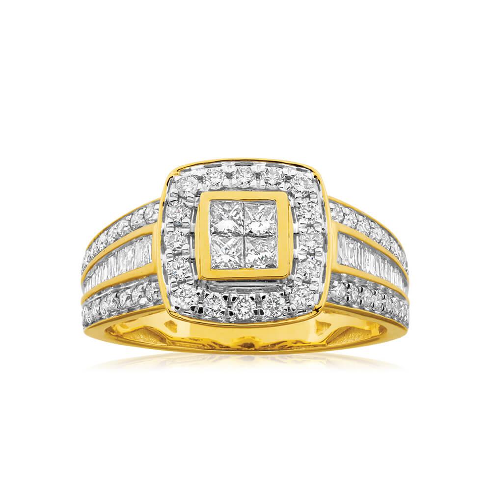 9ct Yellow Gold 1 Carat Diamond Ring Set with 76 Stunning  Diamonds